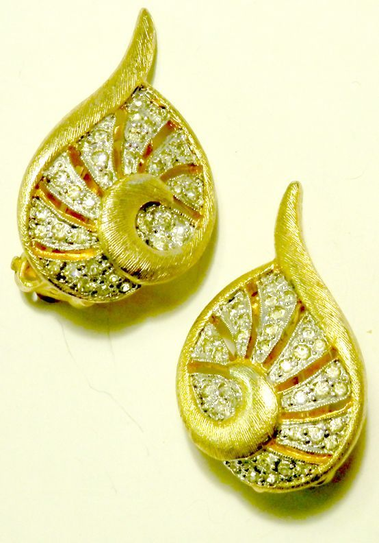 POLCINI Open-Work Pave' Rhinestone Earrings
