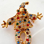 Adorable Rhinestone JOINTED CLOWN Brooch