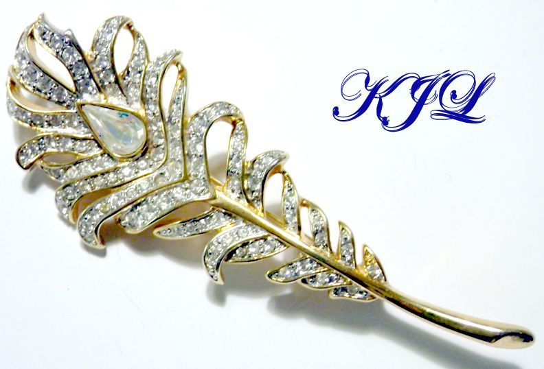 Vintage KJL Rhinestone Peacock Feather Brooch
