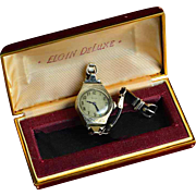 Rare 1920s Flappers' 14k White Gold Watch, Love Token, in Original Case with Original Leather Band…Works! Mint!