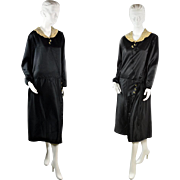 Vintage 1920s Black Dress with Bakelite Buttons and Kick Pleats