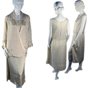 Vintage 1920s Couture Dress Suit in Silk Faille