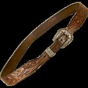 Vintage 1940s Belt Western, Sterling Silver