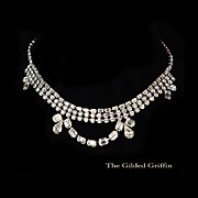 Exquisite Vintage 1950s Rhinestone Necklace with 140 Rhinestones