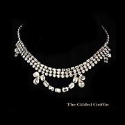 Exquisite Vintage 1950s Rhinestone Necklace with 140 Rhinestones