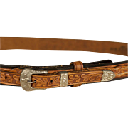 Vintage 1950s Belt, Western Tooled Leather with Unique Wrap Style Size Large, 38 inches or 96.5 Waist