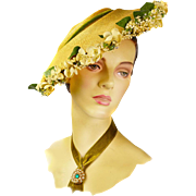 Vintage 1950s Straw Picture Hat