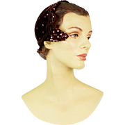 Vintage 1950s Cashmere and Fur Felted Hat with Copper Beads and Sequins