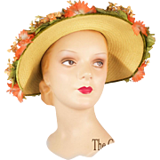 Vintage 1950s Straw Hat with Magnificent Silk Flowers - Red Tag Sale Item