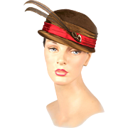 Unbelievable Quality & Style! Vintage 1950s Hat with Original Hatpin, Feathers, Beads & Sequins