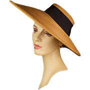 Vintage 1940s Hat, Bergère Styled Cartwheel From Italy, Fully Hand-Woven and Hand-Finished with Massive Brim, Rare!