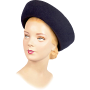 Vintage Hat! Exquisite Black 1950s Breton with Original Hat Pin