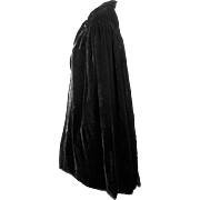 Cape Flapper c 1920 in Black Silk Velvet, Lined with Chiffon, Fully Hand Sewn & Smocked