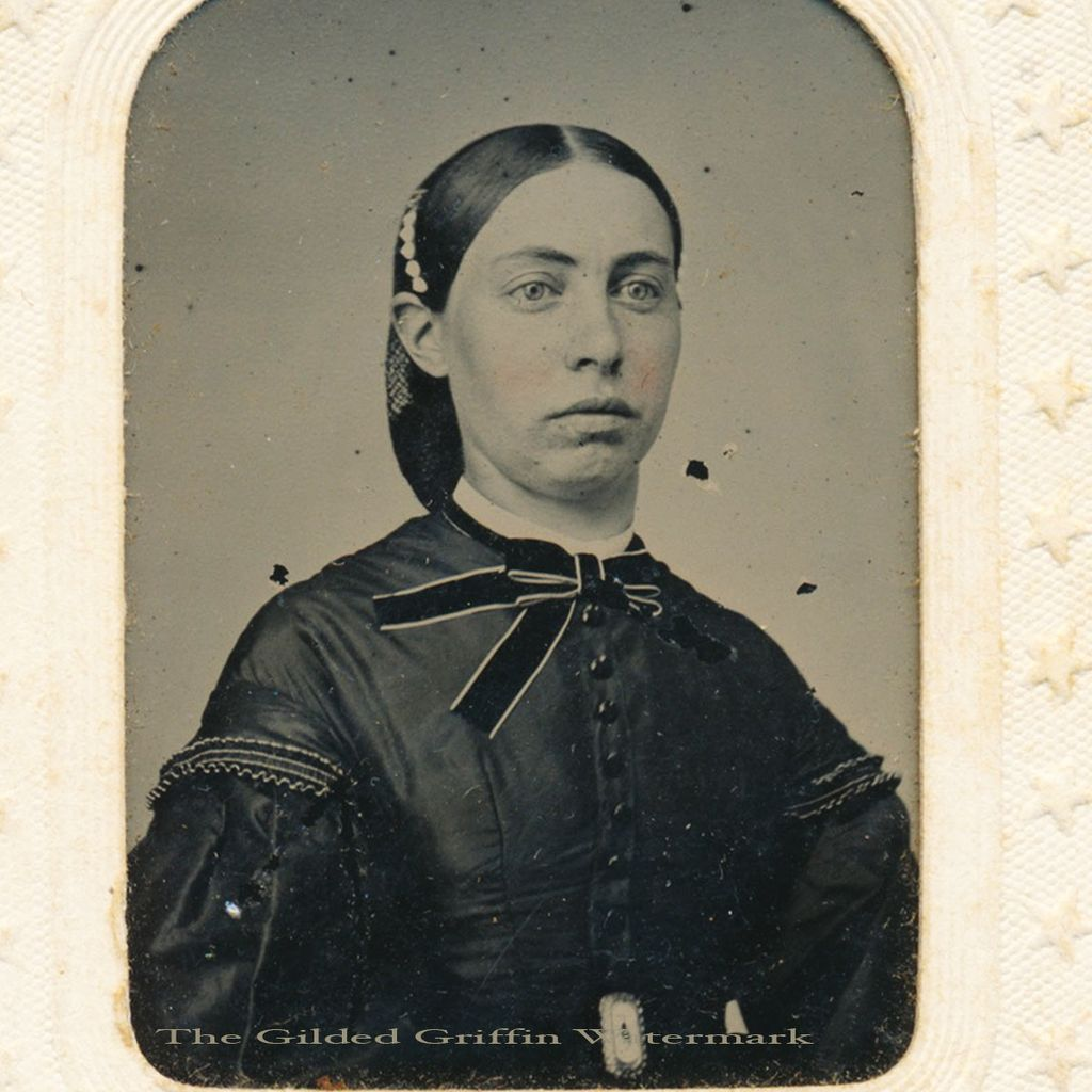 Civil War Tintype of Stylish Lady is Hand-Colored & Dated 1865 with Potter's Patent on Original Star Embossed Sleeve