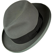 Vintage Fedora Homburg Hat in Size Large by Stetson Mid-Century Modern 1960s Larger Size Than Most in Near Mint Condition!