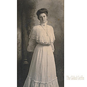 Rare Gibson Girl Style Van De Grift Portrait Photograph with Incredible Logo Illustration Engraving