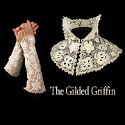 Antique Fingerless Gloves Mitts and Collar, Early Victorian Irish Crochet
