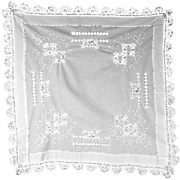 Antique Linen Tablecloth c 1900, White on White, Drawn Work and Lace