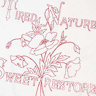 """Antique Turkey Red Linen Circa 1880. """"Night Thoughts"""" Poem with Wild Poppies, American Folk Art Embroidery in Mint Condition, Appears Unused!"""