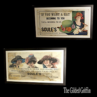 Millinery Hat Shop Sign Advertising by Barron G. Collier, Flapper Hats Date to About 1920, Set of Two, Framed, Very Rare!
