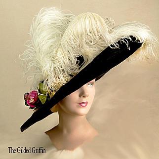 Mme Georgette Edwardian Hat From 11 Rue Scribe, Paris. Authentic Gainsborough Hat. Extremely Rare. Dates to About 1908, La Belle Époque