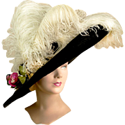 Mme Georgette Edwardian Hat From 11 Rue Scribe, Paris. Extremely Rare and Dates to About 1908 La Belle Époque
