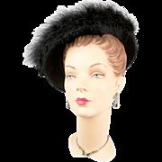 Vintage 1940s Germaine Montabert Marabou Hat