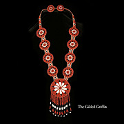 Authentic 1950s Arapaho Native American Beaded Necklace and Earrings