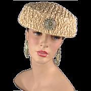 Vintage 1950s Hat with Original Rhinestone Trim - Red Tag Sale Item