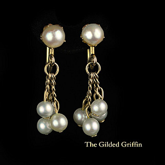 Vintage WWII Era 1940s Cultured Pearl Earrings With 12k Gold-Filled Mounting