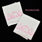 Vintage RETRO 1950s Embroidered Wedding Pillowcases, Gorgeous!