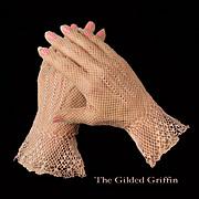 Vintage 1930s Gloves, Pink Linen Crochet
