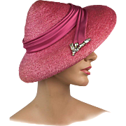 Vintage Hat!  Brilliant 1950s Retro GAGE Hat, Mint!  In Summertime Pink with Magnificent Rhinestone Millinery Trim