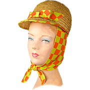 Vintage Mid-Century 1960s Hat Psychedelic Neon Beehive Bonnet