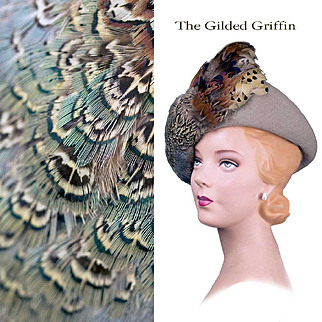 Vintage 1930s Couture Hat with Spectacular Feathers Near Mint Condition