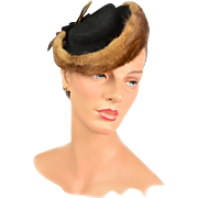 Rare Couture Vintage 1930s Cashmere & 10K Gold Plated Trim Hat Rare! Original Box & Price Tag!