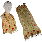 Vintage 1920s Embroidered Tulle-bi-telli Scarf for Men or Women - Red Tag Sale Item