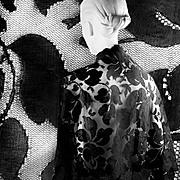 Antique Silk Shawl Victorian Black Brussels Appliqué Lace   Mint!