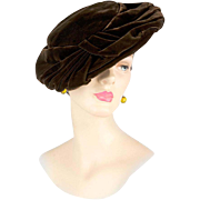 Vintage 1940s Hat, In Silk Velvet, From Exclusive Millinery Salon