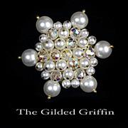 Vintage 1950s Glass Pearl Beaded Aurora Borealis Snowflake Brooch