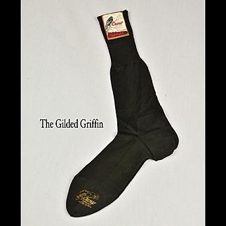 Rare Men's 1920s Stockings with Original Label, Unused & Mint!