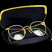 Rare Vintage 1930s 12k Gold Filled Ornate Windsor Eyeglasses for Men, With Original Case