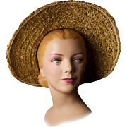 Vintage 1940s Hat, Summertime Hat Handwoven with Natural Straw,  Silk Floral Trim