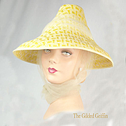 Vintage 1950s Summer Straw Hat with Silk Tulle Scarf