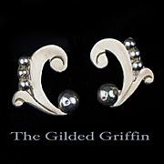 Vintage 1930s Sterling Silver Earrings, Handmade