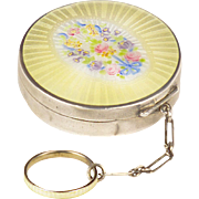 Vintage 1920s Sterling and Guilloché Enamel Compact