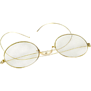 Antique Victorian Women's 10K Gold Filled Eyeglasses or Riding Temple Spectacles
