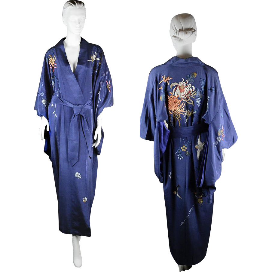 Vintage 1950s Silk Japanese Kimono From Rubylane Sold On