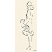 Authentic 1920s Original Pen & Ink Drawing, NOT PRINT, Fashion Illustration