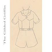 Authentic 1920s Original Pencil Sketch NOT PRINT Children's Fashion Illustration